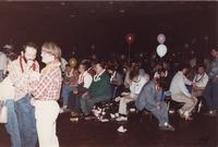 A group of people gathered at an event in the Centennial Student Union Ballroom at Mankato State University, 1980s.