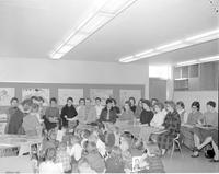 Students and teachers in a classroom at Mankato State College on January 16,1960