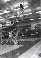 Maverick players trying to get in position against Augustana players for a possible rebound during a game at Mankato State University