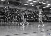 Player for the Mavericks taking a jumpshot during a game against Augustana at Mankato State University