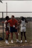 National Cerebral Palsy Games Track Competition Competitors and Coach, Mankato State University, July 15th, 1989.