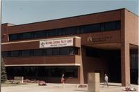 National Cerebral Palsy Games sign on the Wigley Administration Center, Mankato State University, July 17th, 1989.