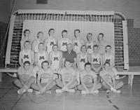 Group portrait of men's gymnastic team at Mankato State College, 1960-02-24.