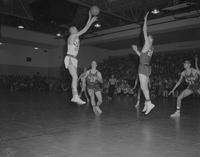 Mankato State College basketball team against St. Cloud University at Otto Arena, 1960-03-11.