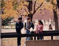 Students outside Armstrong Hall, Mankato State University, 1990s.