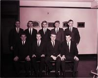 Pledge class portrait of Delta Sigma Pi at Mankato State College 1964-03-11