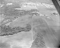 A picture taken from an airplane of landscape, Mankato State College, August 2,1960