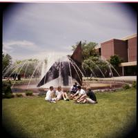 Students by the fountain at Minnesota State University 1990s