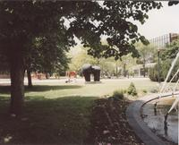 View point from fountain looking at the Wave and Chthonic, Campus Mall, Mankato State University, June 1995.