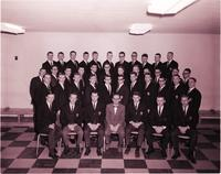 Group portrait of Delta Sigma Pi at Mankato State College 1965-01-22
