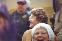 A candid photo of Mankato State University fans, including MSU President Margaret Preska, at the conference championship football game, 1987.