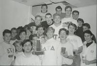 Members of Delta Tau Delta posing for a group photo at Mankato State University