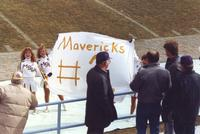 Mankato State University cheerleaders and fans during the conference championship football game, 1987.