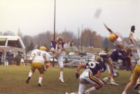 A football game at Blakeslee Stadium between Mankato State University and the Augustana Vikings, 1987