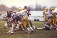 A football game between Mankato State University and the Augustana Vikings at Blakeslee Stadium, 1987.