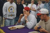 Students participating in a wing eating competition at Mankato State University
