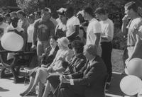 Mankato State University, a shot of the MSU football players and various people on the Campus Mall during Homecoming ,1988