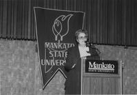 Mankato State University, Lois Mussett speaks at Campus Campaign event, 1989