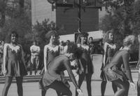 Mankato State University, the MSU Dance Team performs on the Campus Mall during Homecoming, 1988