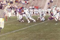 A Mankato State University football game against North Dakota University, 1987.