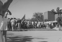 Mankato State University, the MSU football players gather on the Campus Mall steps during Homecoming, 1988