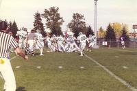 A football game between Mankato State University and North Dakota University, 1987.