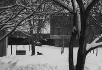 Mankato State University, winter picture of campus buildings, 1988