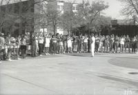 Mankato State University, MSU band plays on the Campus Mall during Homecoming, 1988