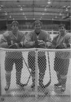 Mankato State University, posed shot of three Mankato State University men's hockey players, 1989