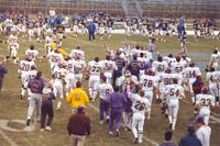 Mankato State University football team after winning the conference championship game.