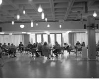 College students studying in the basement of the centennial student union at Mankato State College 1968-11-06