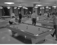 Mankato State College, students playing pool in the Centennial Student Union. November 6, 1968.