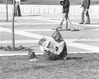 A female student reads the Mankato State College student newspaper on the grass next to the campus mall, 1970s.