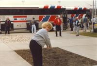 Mankato State University, People loading busses in the background, photo taken in the fall of 1987.