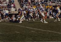 Mankato State University, action shot from the MSU vs. SDSU football game on September 30, 1989 at Blakeslee Stadium.
