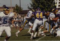 Mankato State University, action shot at the MSU vs. SDSU football game on September 30, 1989 at Blakeslee Stadium.