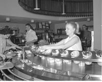 College students at the centennial student union cafeteria at Mankato State College 1968-10-03