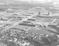 Aerial view of Mankato State College Highland campus in the late 1960's.