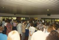 People socializing at Donna Evans Retirement. Mankato Stare University, August 03, 1989.