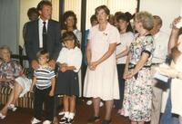 A group of people at Donna Evans retirement. Mankato State University, August 03,1989.