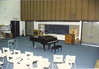Chairs facing front of room, piano in front, Choir Room, Performing Arts Center, 1988, Mankato State College