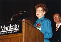 Mary Smidt speaking at the retirement banquet located in the Centennial Student Union. Mankato State University, June 1, 1989.