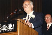 Andrew Een speaking at the retirement banquet located in the Centennial Student Union. Mankato State University, June 1, 1989.
