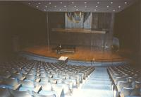 Piano on stage in Recital Hall, Performing Arts Center, 1988, Mankato State College