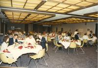 Picture of people eating at Athletic Academic Awards Banquet held in the Centennial Student Union. Mankato State University, June 1, 1989.