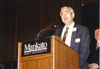 Male speaking at retirement banquet located in the Centennial Student. Mankato State University, June 1, 1989.
