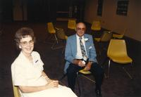 Two people smiling for a picture at the Retirement Banquet located in the Centennial Student Union. Mankato State University, June 1, 1989.