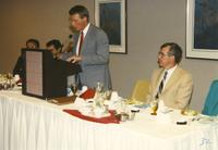 Speaker at Athletic Academic Awards Banquet held in the Centennial Student Union. Mankato State University, June 1, 1989.