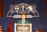 Margaret R. Preska gives a speech in the Centennial Student Union Ballroom, Mankato State University