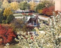 The Fountain, Campus Mall, Memorial Library in background, Fall, Mid-Late 1980's, Mankato State University